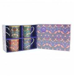 A set of 4 william morris strawberry thief print mugs