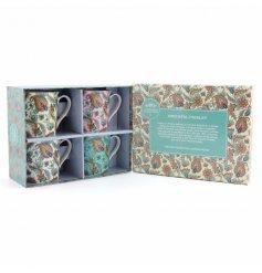 Set Of 4 Oriental Paisley Mugs