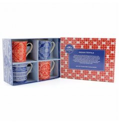 A set of 4 mugs with indian textile patterns
