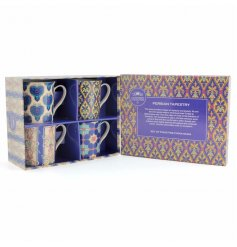 A set of 4 mugs with Persian style tapestry patterns