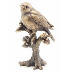 A bronzed resin robin ornament