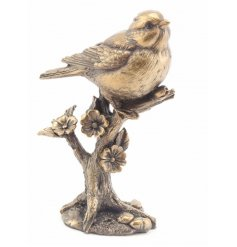 A bronzed resin Blue Tit Ornament from the reflections range