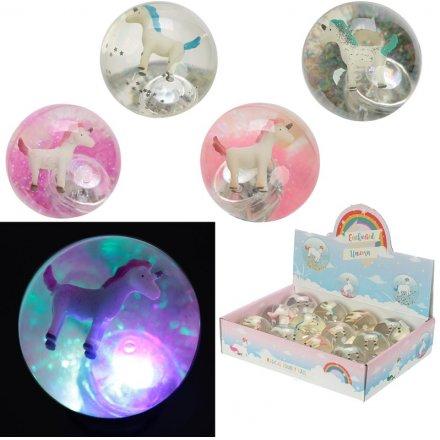 A mix of unicorn flashing LED bouncy balls