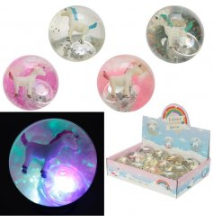 A mix of flashing LED unicorn themed bouncy balls