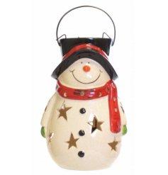 A jolly snowman ceramic lantern