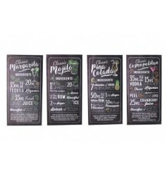 4 stylishly assorted cocktail themed standing wooden recipe plaques