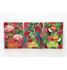 Add a paradise infused feel to your home space and stationary sets with these tropical patterned hard back note books