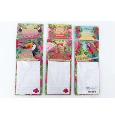 Add a touch of the tropical to your memo writing and stationary sets with these fun paradise patterned magnetic memopad