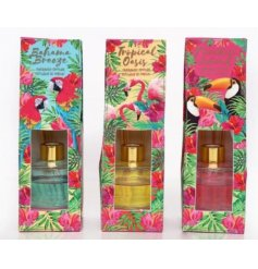 Add a paradise infused feel to your home space with these tropical patterned scented reed diffusers