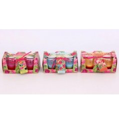 Bring a touch of the tropics to your home space with this flamingo inspired assortment of glass candles