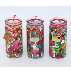 Bring a touch of the tropics to your home space with this flamingo inspired assortment of glass tube candles