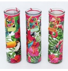 Add a paradise infused feel to your home space with these tropical patterned glass candle tubes