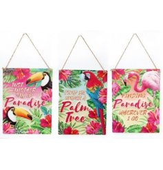 Bring a touch of the tropics to your home space with this flamingo inspired assortment of hanging metal plaques