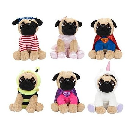 441570 Dressed Soft Toy Pugs Mix 38583 Children Baby Soft