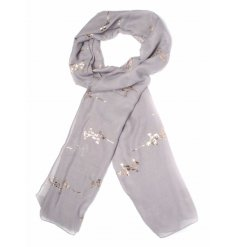 Foil Branch Print Scarf  A chic and sweet assortment of toned fabric scarves,