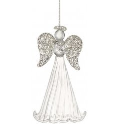 This beautifully finished hanging glass angel will be sure to add grace to any christmas tree this year