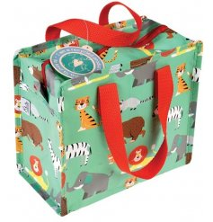 A fun and colourful themed lunch bag, complete with a zoo life print and bright red handles.