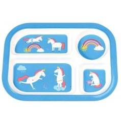 A colourful and quirky melamine tray with a fun unicorn design.