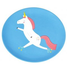 A colourful and quirky unicorn design melamine plate. A great gift item and tableware essential.