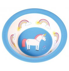 A cute and colourful melamine bowl with an on trend unicorn and rainbow design. Making mealtimes more fun!