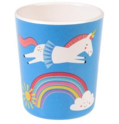 A colourful unicorn and rainbow design melamine beaker. A great gift item and fun tableware item for kids.