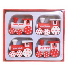Set of 4 wooden train hanging decorations
