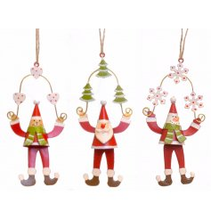3 Assorted metal Santa/Bear/Snowman hanging decs
