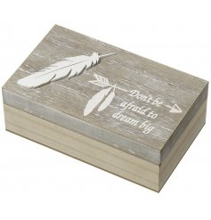This beautifully rustic inspired wooden crate will make a great gift idea for those who like to hold onto their treasure