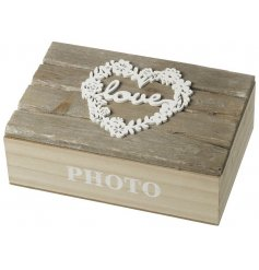 Keep a hold of all your treasured photographed memories with this rustic wooden box