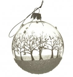 Made form real glass and coated in a glittered white design, this bauble will hang perfect with any theme