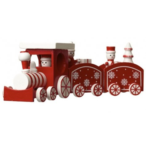 A vintage inspired red and white wooden train decoration with miniatured figures, gifts and Christmas tree.