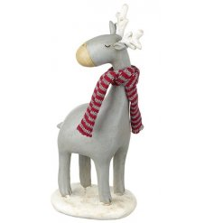 A sweet little standing resin reindeer, complete with a snug scarf