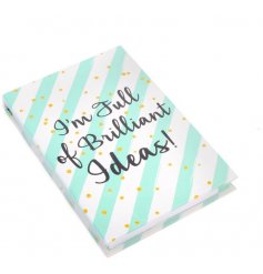A memo pad and pen set with I'm full of Brilliant Ideas quote
