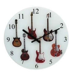 A guitar themed glass clock