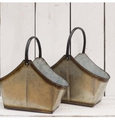 A beautiful set of distressed themed metal trug buckets