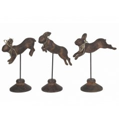 Add a chic luxe feel to any home space with this assortment of cast iron rabbit ornaments