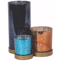 Bring a beautiful touch to your home space with this assortment of coloured set tlight holders