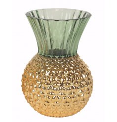 Add a trending twist to your home space with this chic pineapple themed glass vase