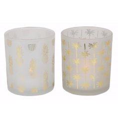 A chic assortment of tropical themed tlight holders,