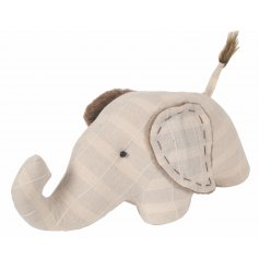 Add a classical vintage tone to your home spaces with this fabric elephant doorstop