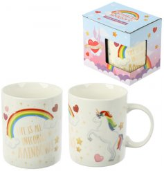 Drink in style with this magical and mystical unicorn themed fine china mug