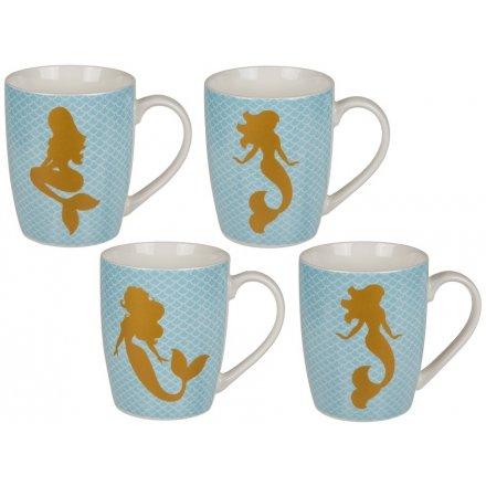 Fine China Mermaid Mugs, 4ass