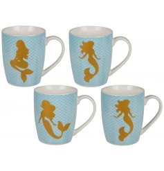 Fine China Mermaid Mugs, 4ass  Add a trending touch to any kitchen space with this chic assortment of china mugs