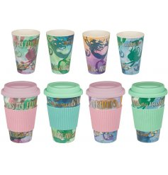A whimsical inspired assortment of printed travel mugs, complete with a mermaid theme and script quote