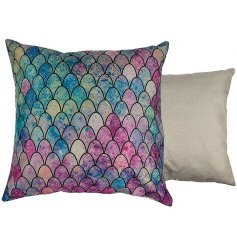 Bring an almost whimsical touch to any home space with this chic multi-toned mermaid scale cushion