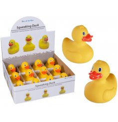 Make bath time fun again with these traditional yellow squeaking rubber ducks