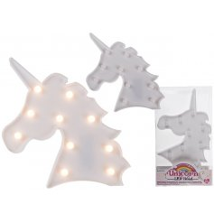 Add a magical and simplistic touch to any bedroom space with this plastic white LED unicorn light