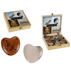 This smooth polished set of gemstones in a heart formation will make a great gift idea for anybody under alot of stress