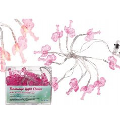Flamingo Light Garland   Add a funk pink flamingo theme to your displays with this hanging LED garland