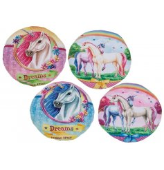 Add a magical touch to any cozy corner with this assortment of unicorn themed cushions
